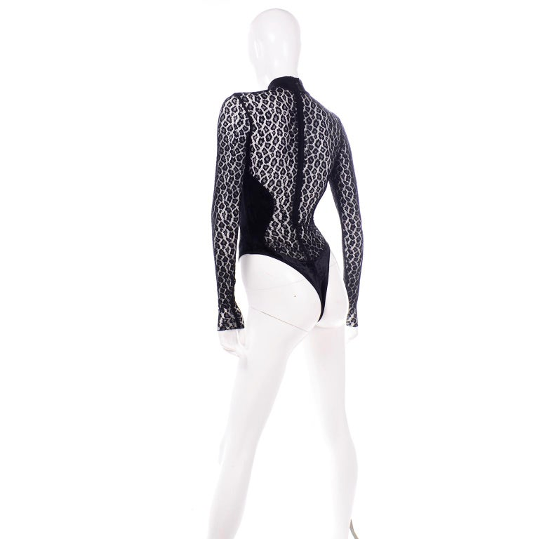 Alaia Vintage FW 1991 Runway Bodysuit in Black Sheer Animal Print Lace & Velvet For Sale 3