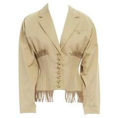 ALAIA Vintage SS1988 beige cord fringe hourglass corset jacket S FR36 US4