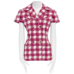 ALAIA Vintage SS91 Tati red white checked denim fitted jacket M FR38 IT42 US6