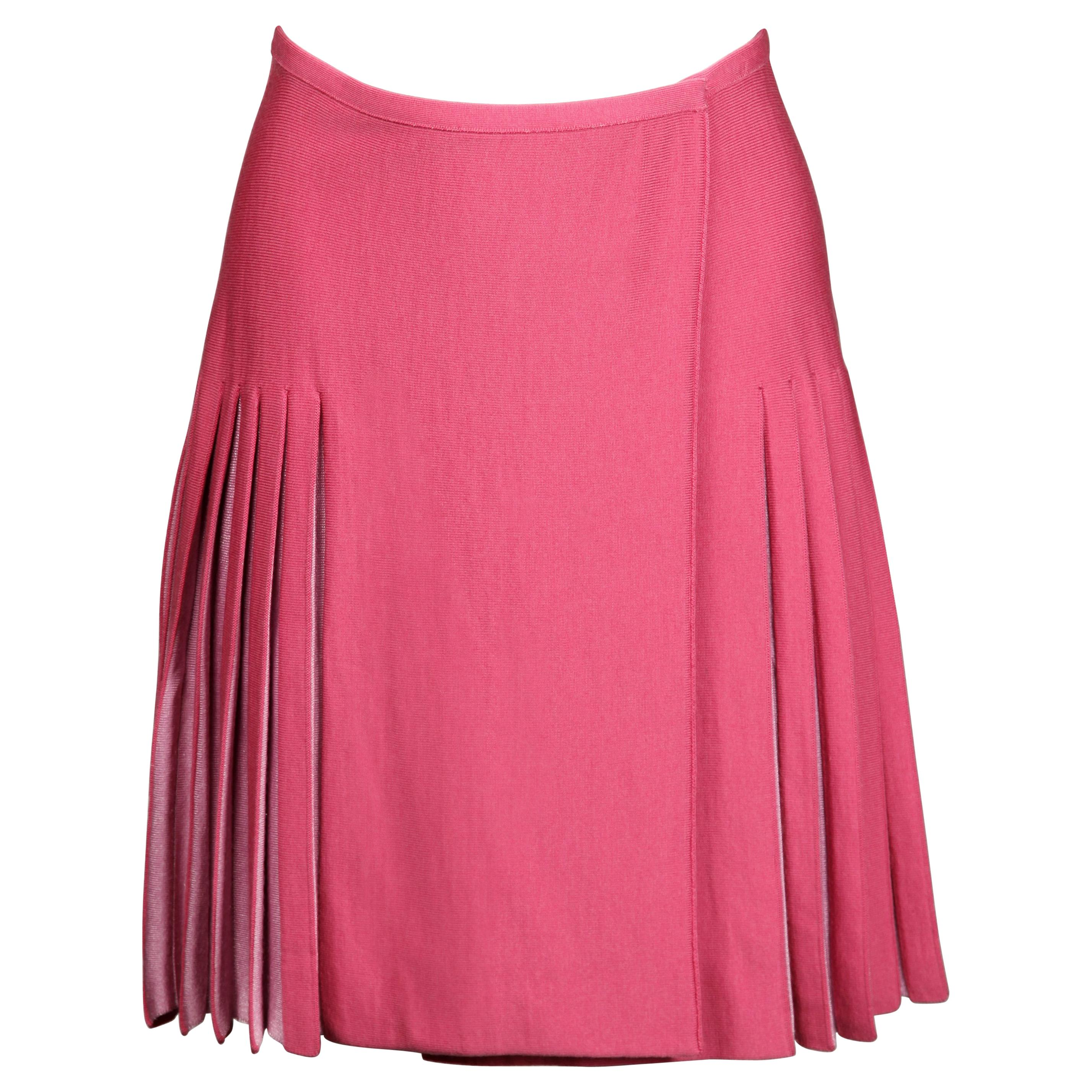 Alaia Vintage Two-Tone Pink Pleated Knit Sweater Mini Skirt