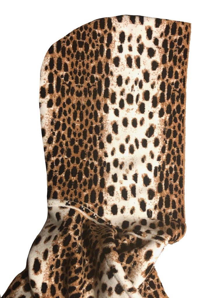 Alaïa White and Brown Leopard Print Sweatshirt In Excellent Condition For Sale In Geneva, CH