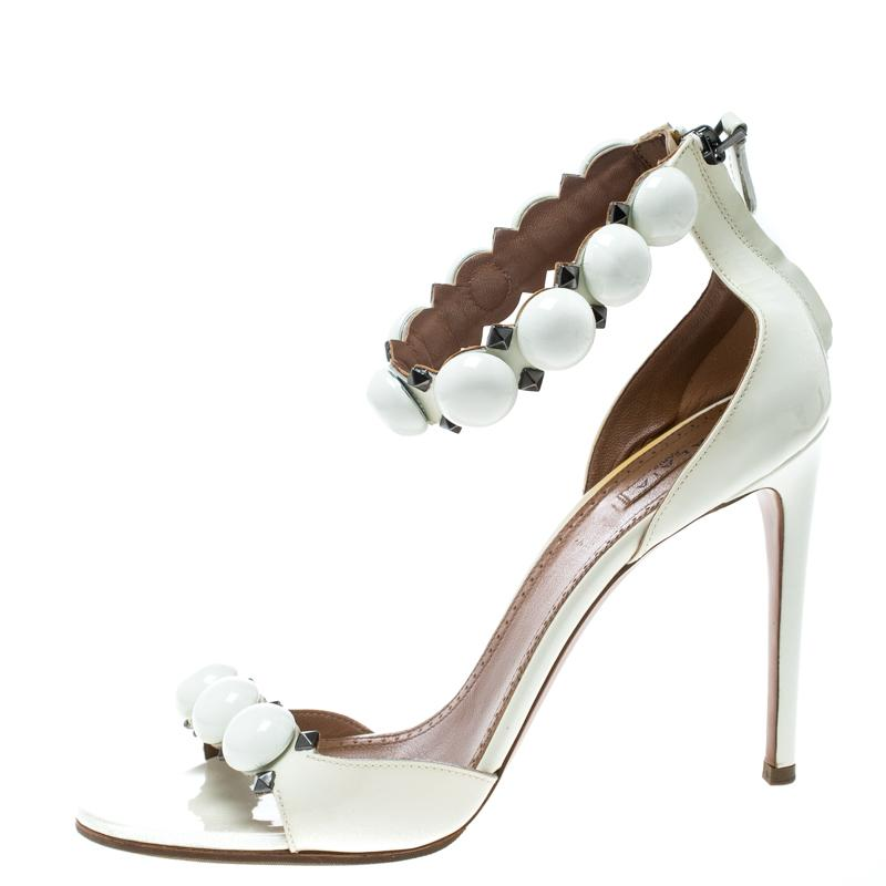 Alaia White Patent Leather Bombe Stud Embellished Open Toe Sandals Size 41
