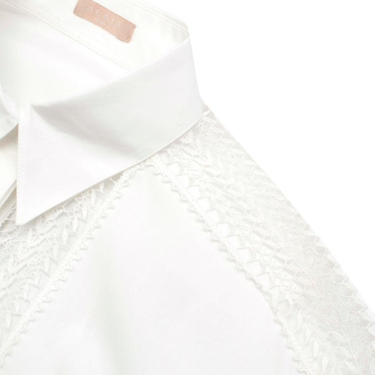 Alaia White Poplin Lace Panelled Shirt 36 UK8  For Sale 5