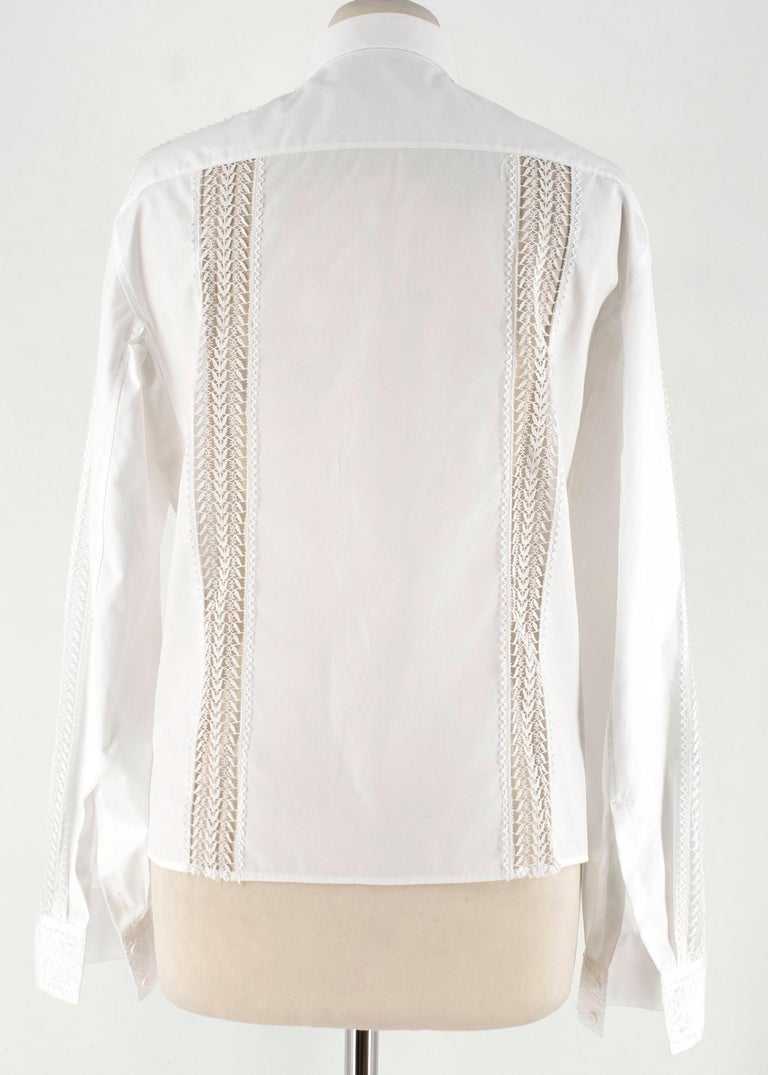 Gray Alaia White Poplin Lace Panelled Shirt 36 UK8  For Sale