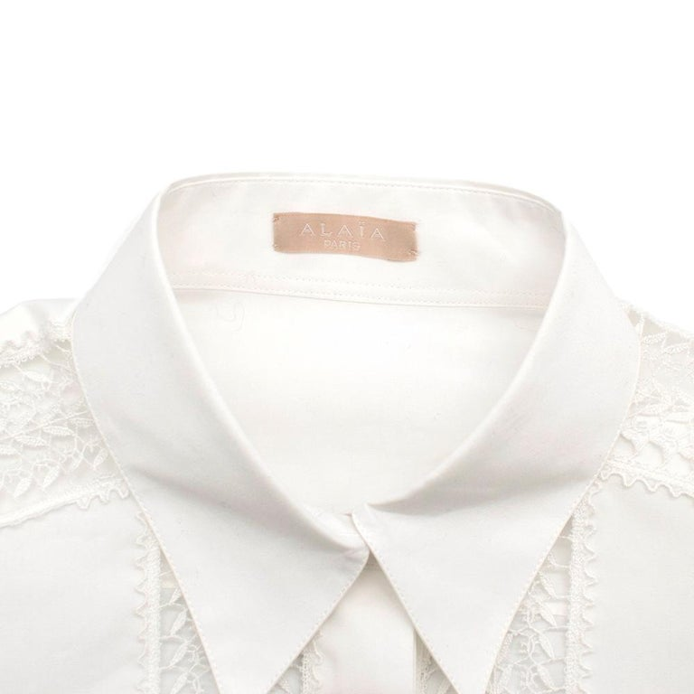 Alaia White Poplin Lace Panelled Shirt 36 UK8  In Excellent Condition For Sale In London, GB
