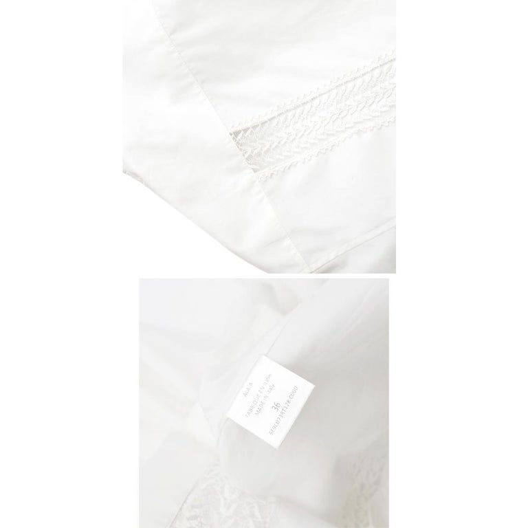 Alaia White Poplin Lace Panelled Shirt 36 UK8  For Sale 1