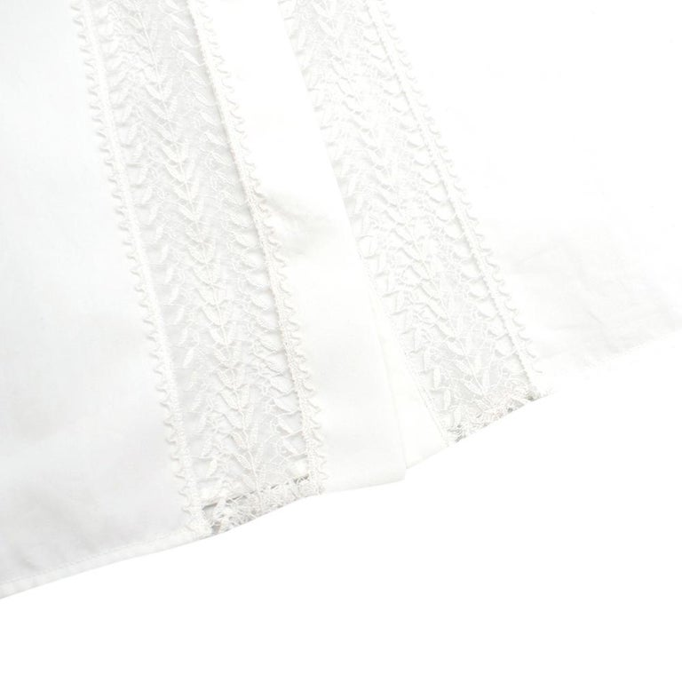 Alaia White Poplin Lace Panelled Shirt 36 UK8  For Sale 2