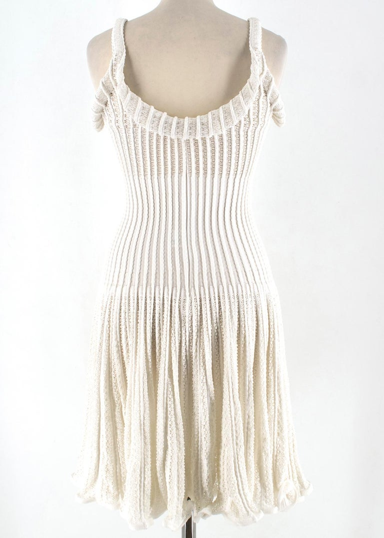 Alaia White Ribbed Knitted Dress	XS In Excellent Condition In London, GB