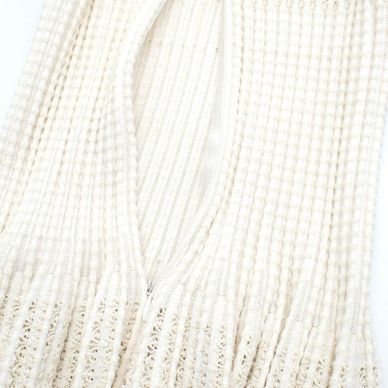 Women's Alaia White Ribbed Knitted Dress	XS