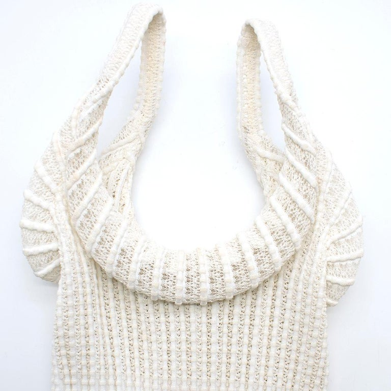 Alaia White Ribbed Knitted Dress	XS 4