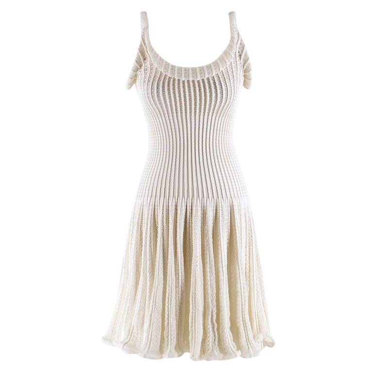 Alaia White Ribbed Knitted Dress	XS