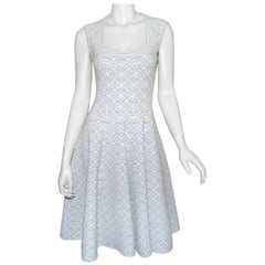 Alaia White, Silver Fit and Flare Dress