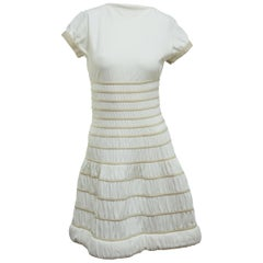 Alaia White Stretch Fit-and-Flare Dress