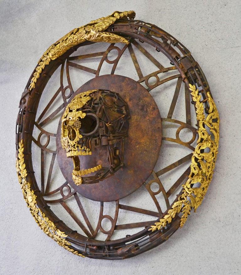Aeternum Ex-Machina - Skull Bronze Wall Sculpture - Unique Piece For Sale 1