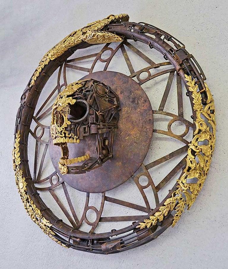Aeternum Ex-Machina - Skull Bronze Wall Sculpture - Unique Piece For Sale 3