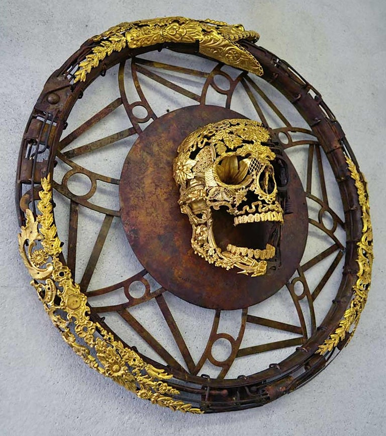 Aeternum Ex-Machina - Skull Bronze Wall Sculpture - Unique Piece For Sale 4