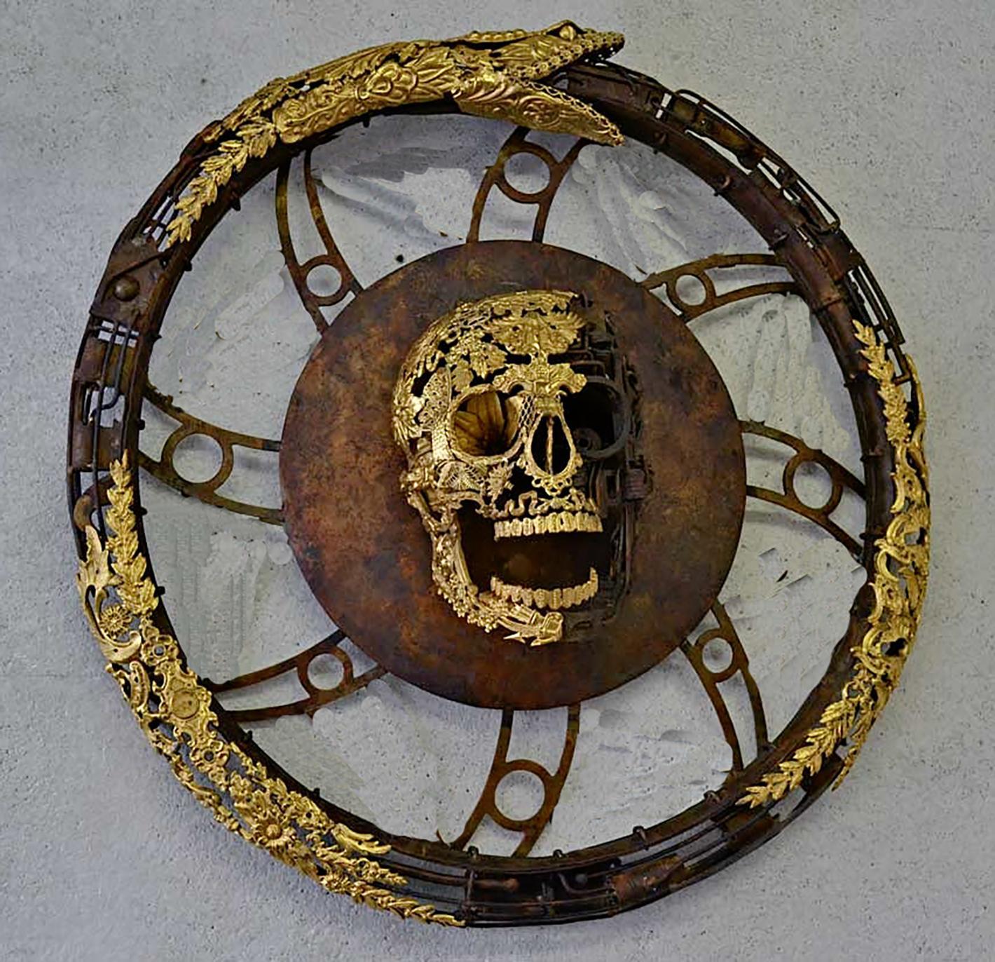 Aeternum Ex-Machina - Skull Bronze Wall Sculpture - Unique Piece