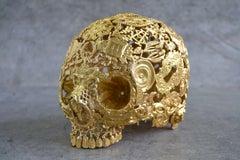 Gilded Boy - Skull Bronze Sculpture - Unique Piece