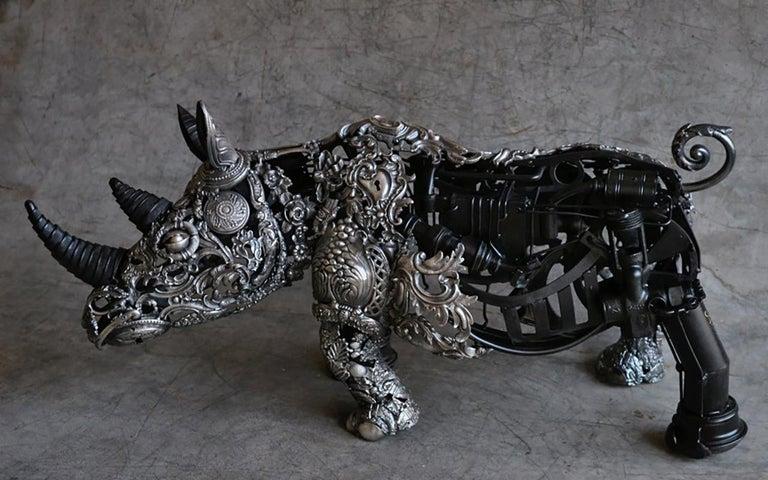 Rhino Ex-Machina - Bronze Unique Piece - Sculpture by Alain BELLINO