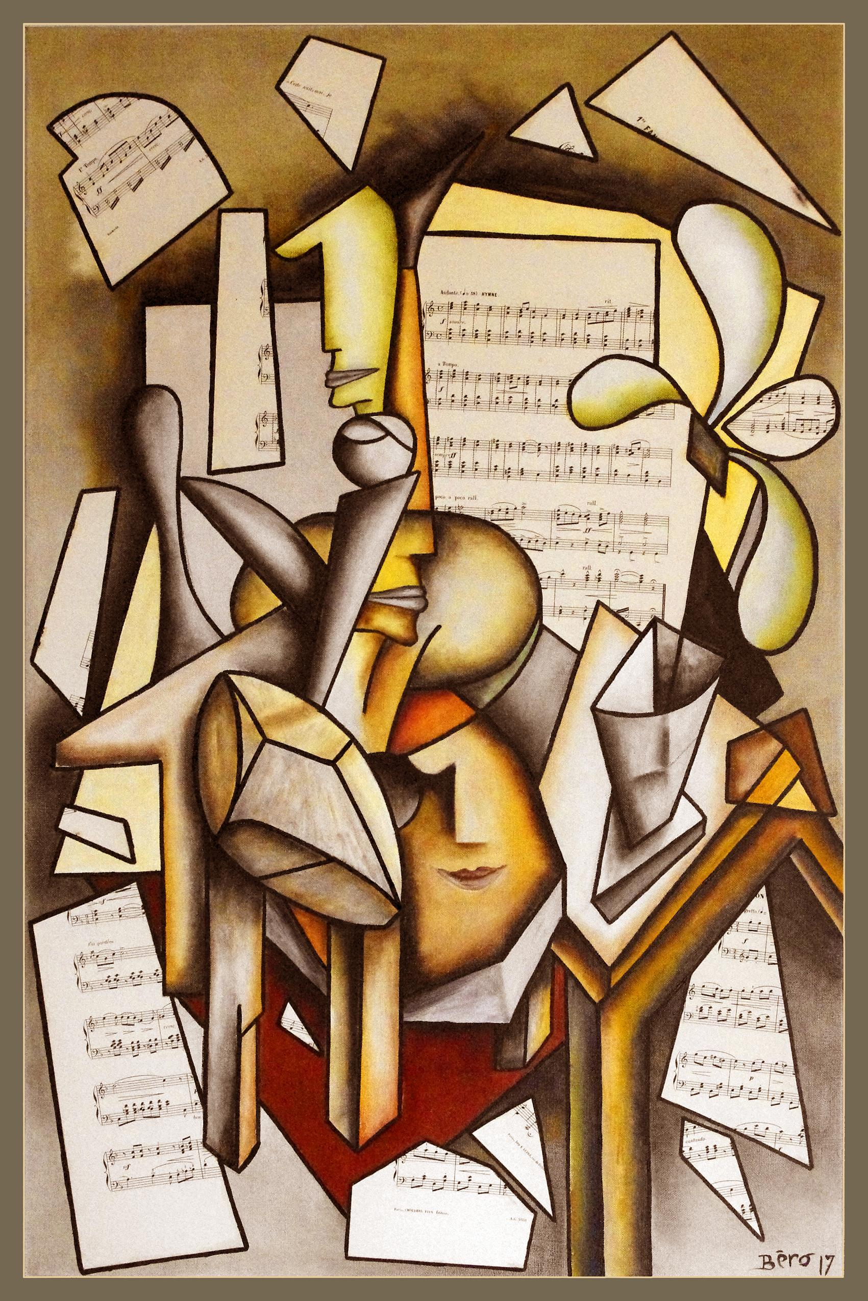 """Cubism figurative oil on canvas painting """"Allegro"""" by established French artist"""