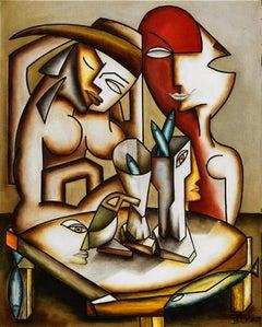 """Cubism figurative oil on canvas painting """"Couple de Femmes aux Poissons"""""""