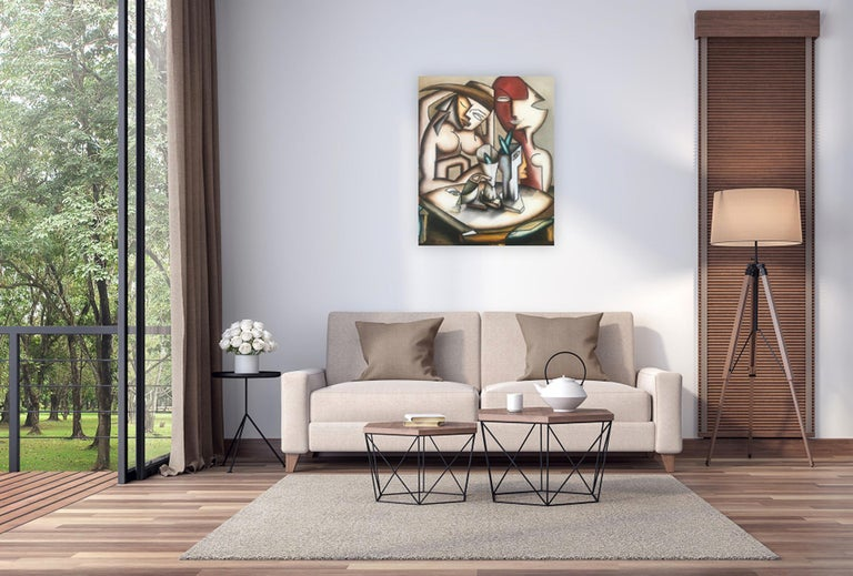 Cubism figurative oil on canvas painting