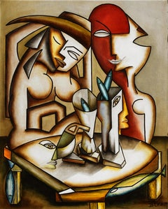 "Cubism figurative oil on canvas painting ""Couple de Femmes aux Poissons"""