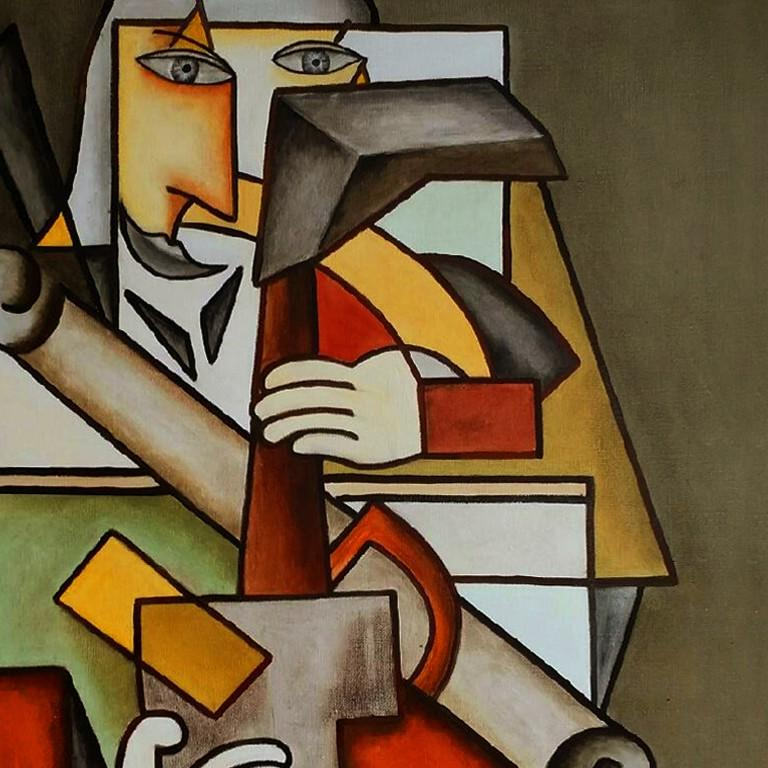 Destructuration by Alain Beraud, Cubism oil painting, Contemporary Art, 2018  For Sale 2