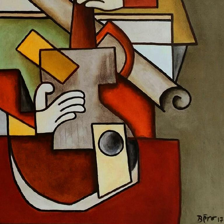 Destructuration by Alain Beraud, Cubism oil painting, Contemporary Art, 2018  For Sale 4