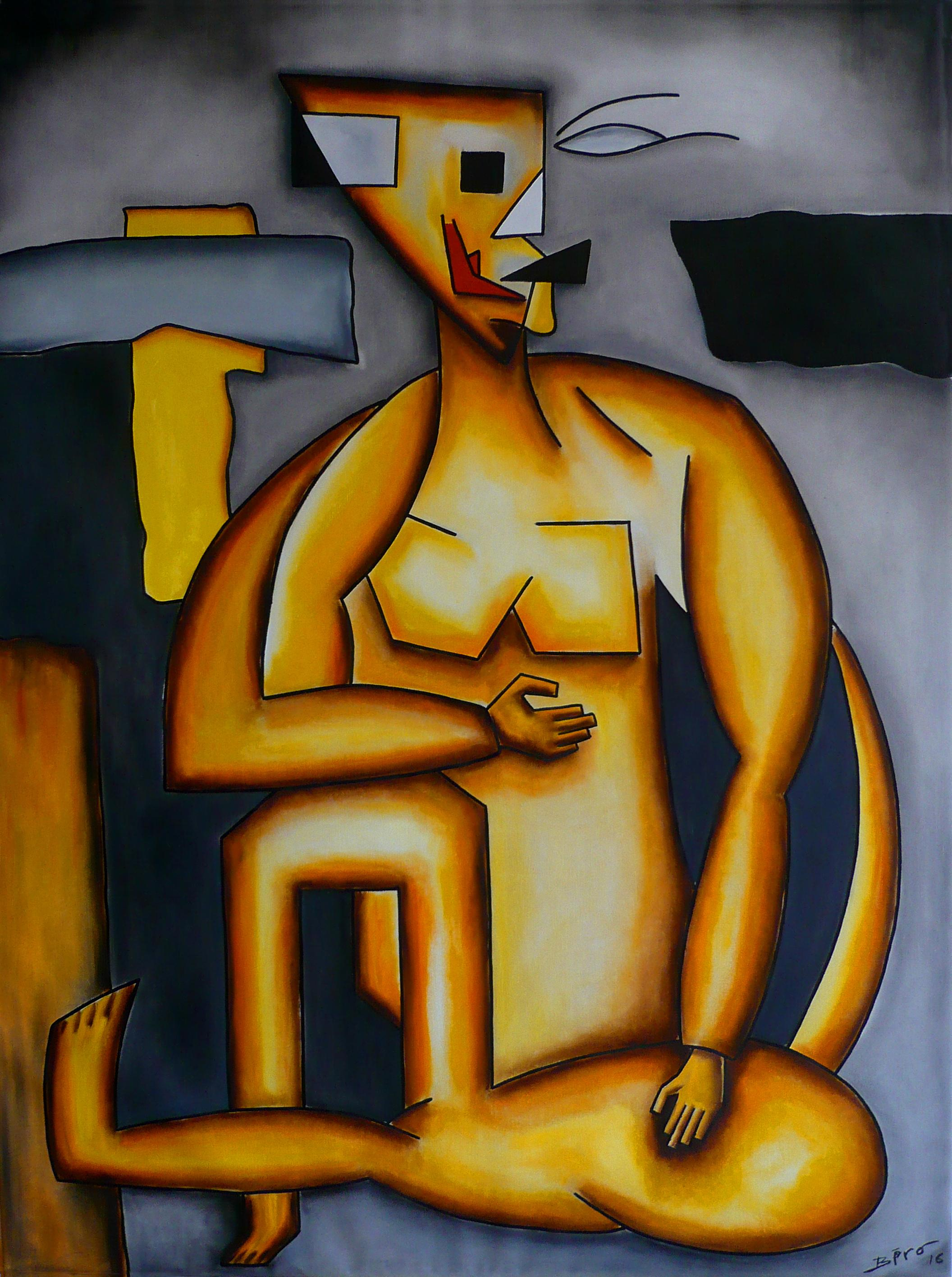 Neo-Cubist Woman, Oil on Canvas, Contemporary Cubism Oil Painting, 2016