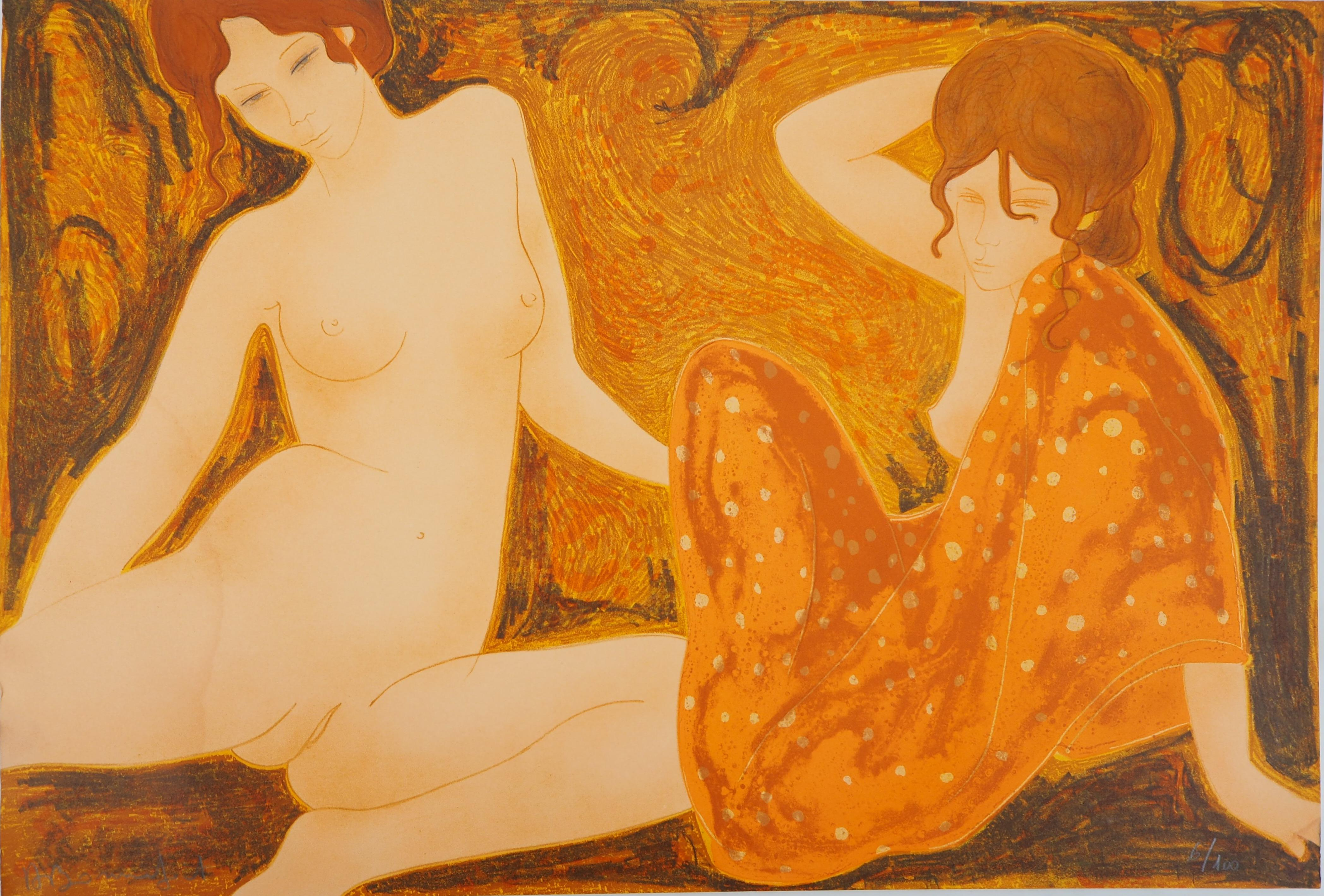 Relaxing Nudes - Original lithograph, Handsigned and Numbered /100