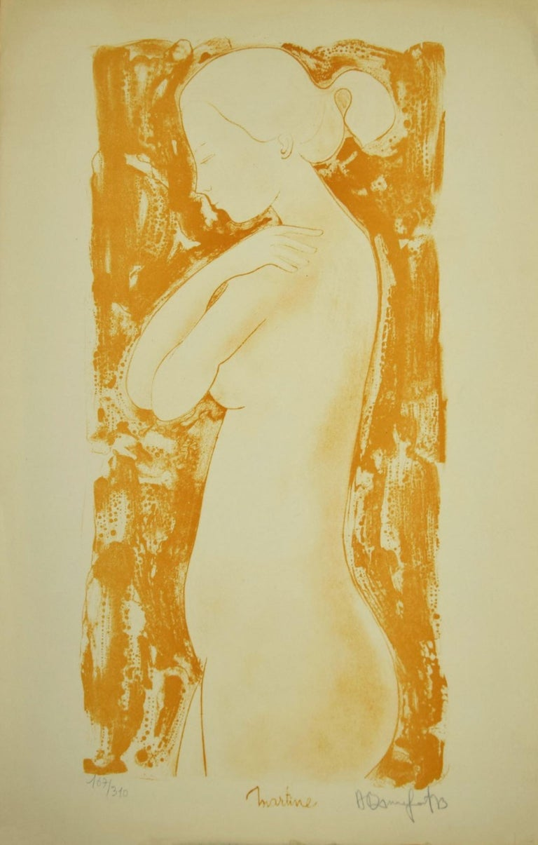 """Standing Nude is an artwork realized by Alain Bonnefoit.  Original Lithograph on paper.  Hand-signed by the artist """"A.Bonnefoit"""" at the lower right margin. Titled on the lower center"""" Martine""""  Numbered, edition of 167/310 prints, at the lower left"""