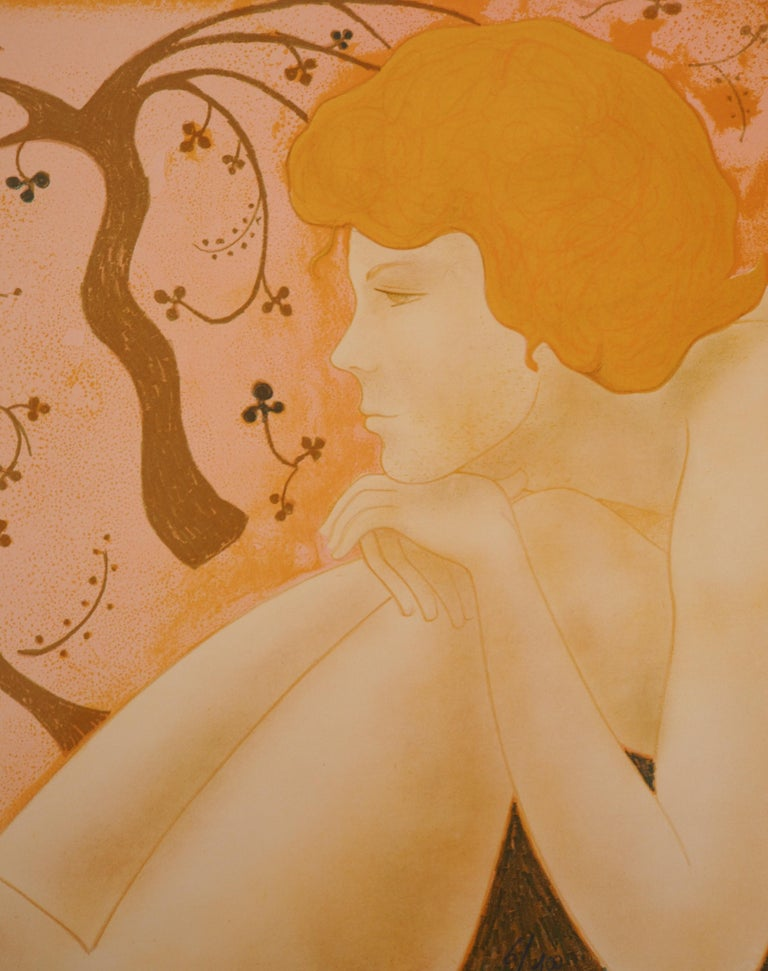 The Lovers - Original lithograph, Handsigned and Numbered /100 - Brown Nude Print by Alain Bonnefoit