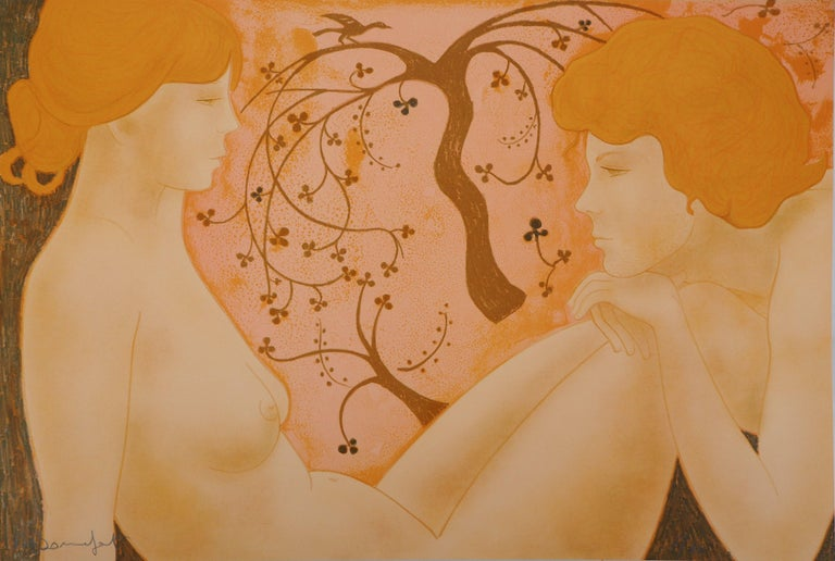 Alain Bonnefoit Nude Print - The Lovers - Original lithograph, Handsigned and Numbered /100