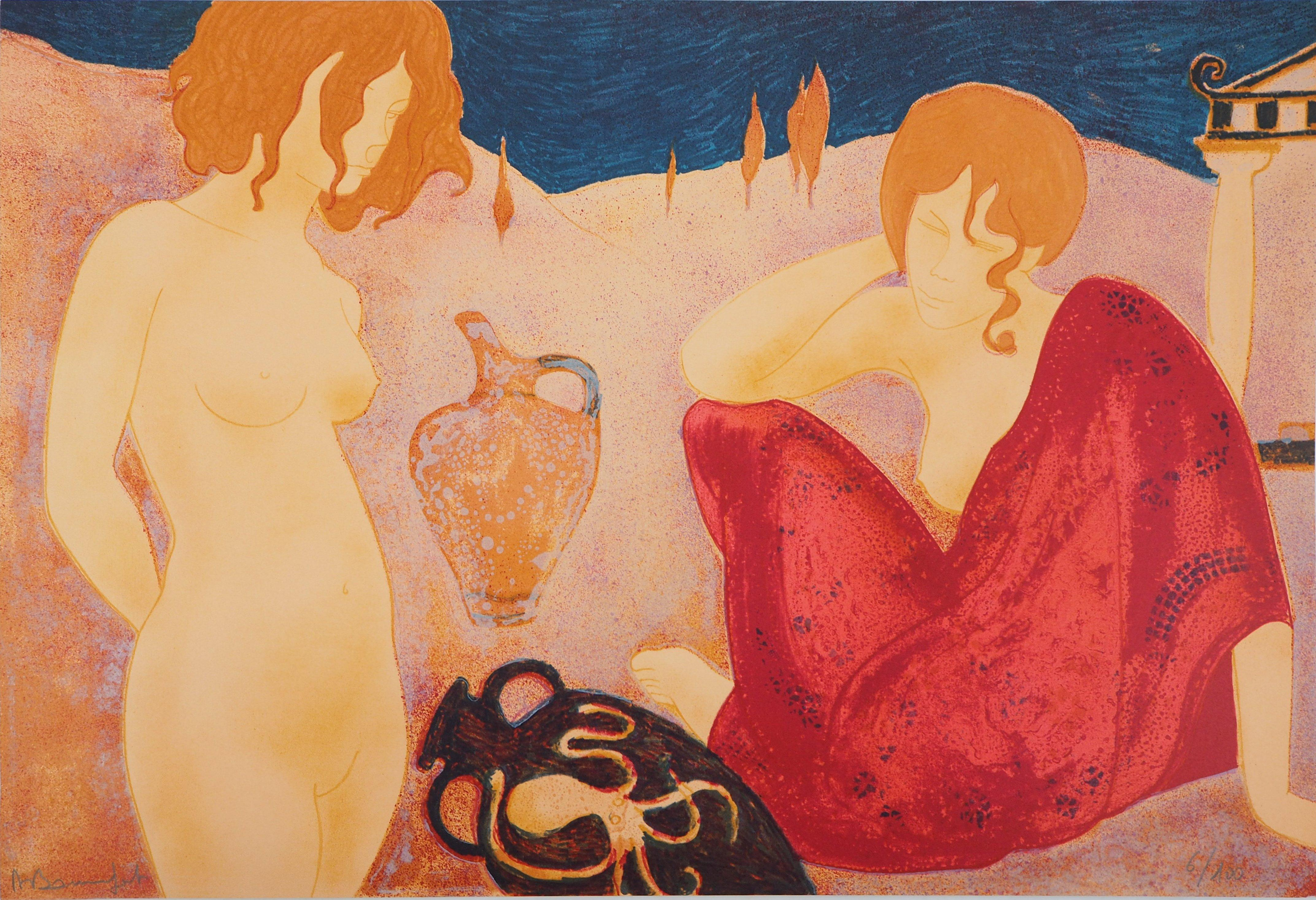 Two Greek Beauties - Original lithograph, Handsigned and Numbered /100