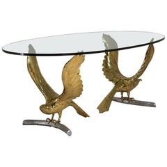 Alain Chervet Brass and Cast Bronze Eagle Based Table, 1980s