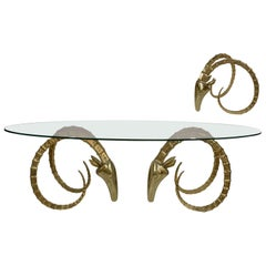 Alain Chervet Hollywood Regency, Ibex Table Signed and Numbered in Gilt Bronze