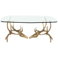 Alain Chervet Signed Brass Stag Head Dining Table or Desk, 1984