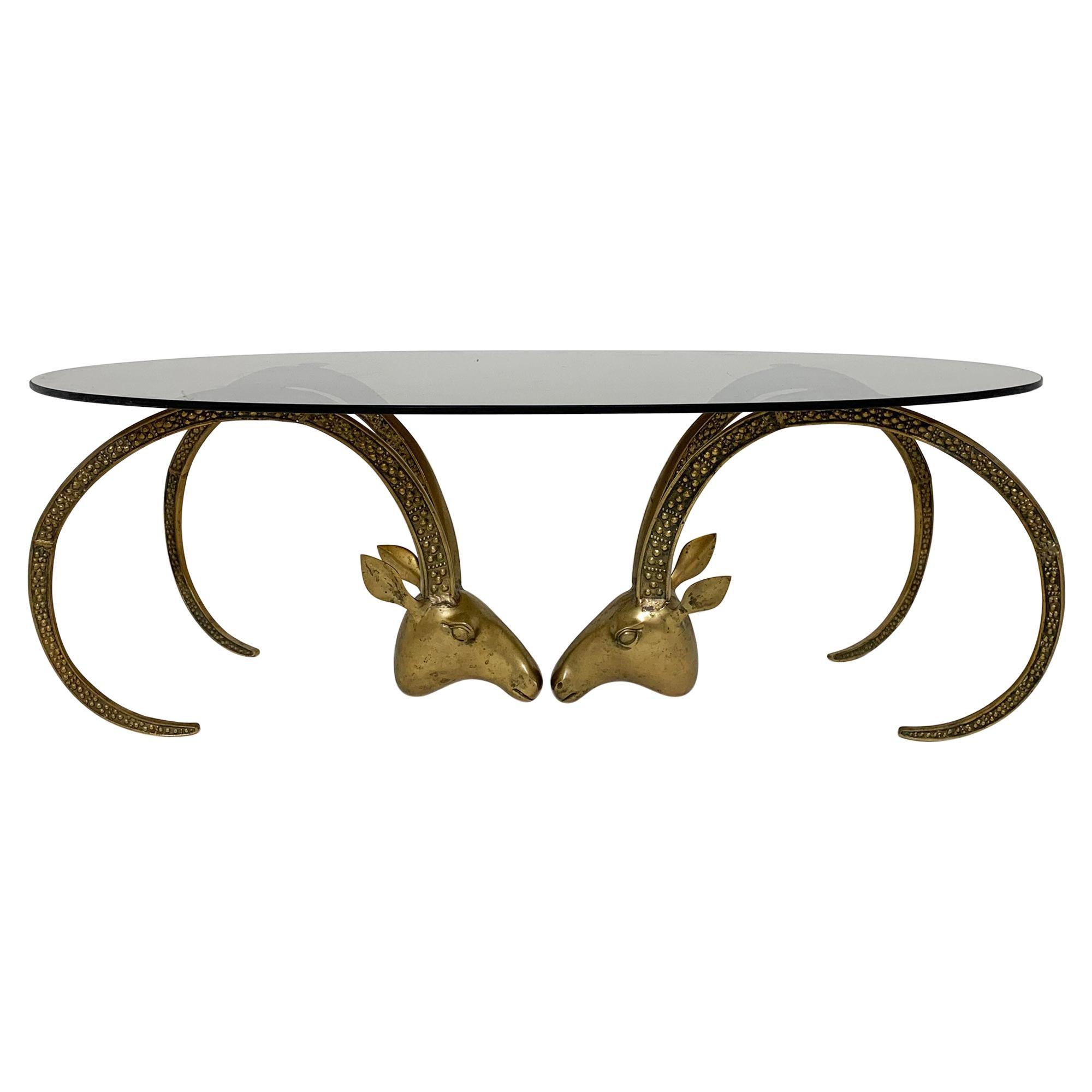 Alain Chervet Style Bronze Ibex Head Coffee Table, Ca. 1970s
