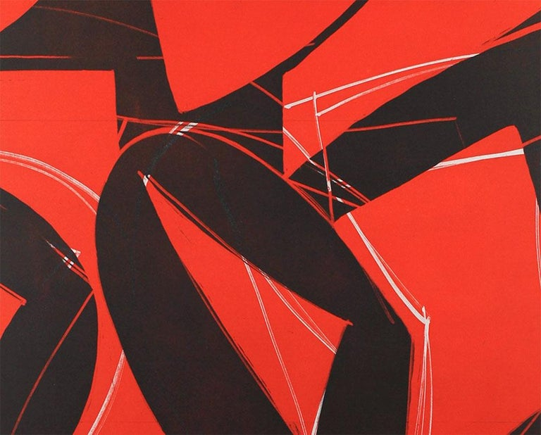17M2G-2017 (Abstract print) - Red Abstract Print by  Alain Clément