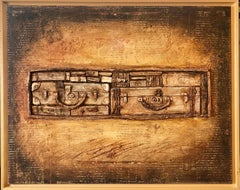 "Modernist Judaica ""Les Valises"" French Jewish Modernist Mixed media Oil Painting"