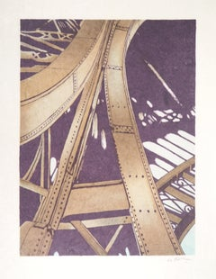 Paris : Inside The Eiffel Tower - Handsigned Original Lithograph