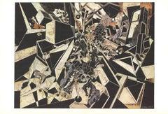 1969 Alain Le Yaouanc 'Black Cubist Arrangement with Figures' Surrealism Black &