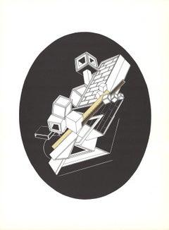 1969 Alain Le Yaouanc 'Cubic Forms on Black Oval' Surrealism Black & White Litho