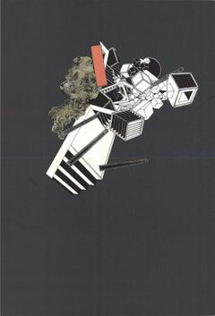 1969 Alain Le Yaouanc 'Geometric Study on Black' Surrealism Gray,White,Black,Ora