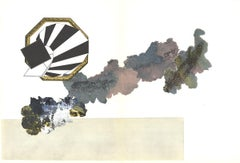1969 Alain Le Yaouanc 'Sans Titre 176-18' Abstract Black,White,Gray,Pink,Green F