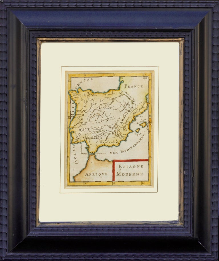 """Wonderful antique map of Spain by Alain Manesson Mallet (French, 1630–1706), 1686. Condition: Good; normal age and toning. Image size: 6.25H"""" x 4.75""""W. Presented in painted composite frame. Frame size: 14""""H x 12""""W x 1""""D.   Mallet was a French"""