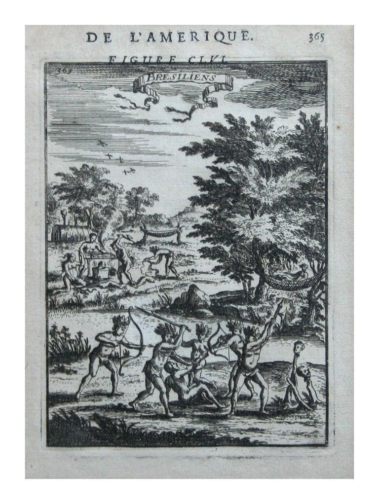 """Alain Manesson Mallet Figurative Print - Native Civilians of America -- """"De L'Amerique"""" Published Frankfurt / 1683"""