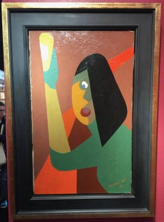 French Cubist mid century 1950s Portrait of a young girl