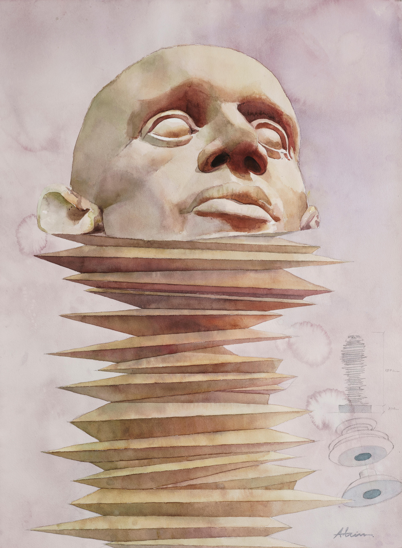 'Devanecerse' Pink abstract watercolor portrait